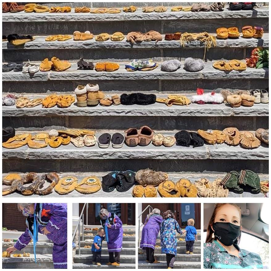 215 pairs of shoes and moccasins placed at the Brantford 'Mush Hole'